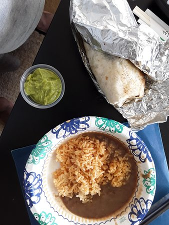 Thyda's tacos : Barbacoa burrito, side of rice and beans, and side of guacamole!