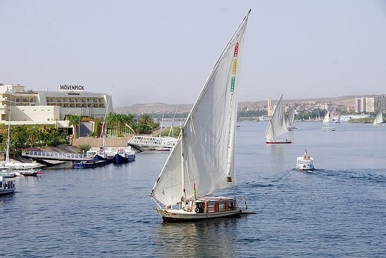 Botanical garden with Felucca ride on Aswan Nile River:  Drink tea In Felucca Ride on the Nile in Aswan at Sunset