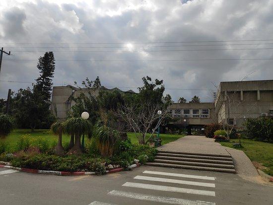 אזור המרכז, ישראל: חדר האוכל המשותף הענק שתכנן האדריכל פרדי כהנא בקיבוץ נצר סרני