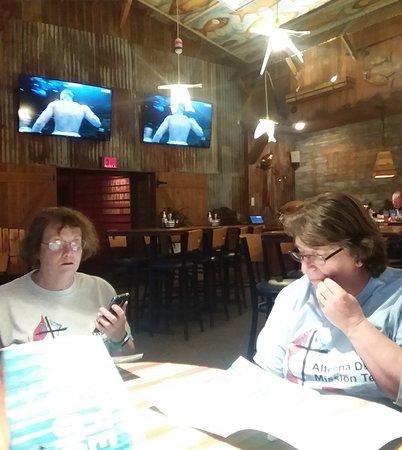 Altoona VIM teammates ponder the extensive menu at River Grille 1Feb2019