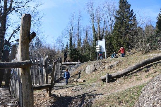 Goldau, Switzerland: Aire de jeux vers les ours et loups