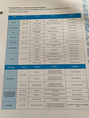 Opening times and what is and isn't included in club