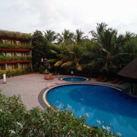 The pool with the backdrop of trees and hotel building