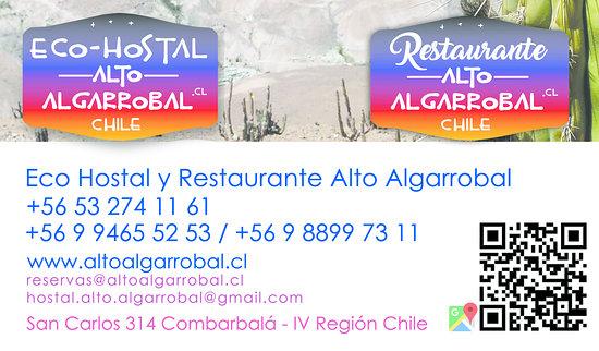Combarbala, Chile: Eco Hostal y Restaurante Alto Algarrobal www.altoalgarrobal.cl mail: hostal.alto.algarrobal@gmail.com
