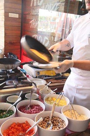 serving the omelette
