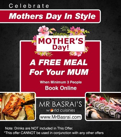 ‪איירשייר, UK: This #MothersDay treat your Beloved  mom with MrBasrai's offers. Enjoy our amazing offers now and celebrate the special day with her! Book minimum 3 people and surprise your mom with FREE MEAL! Happy Mother's Day! Come to Mr Basrai's World of Choices & Enjoy tantalizing food from best cuisines of the world! Book Now: www.MrBasrai.com‬
