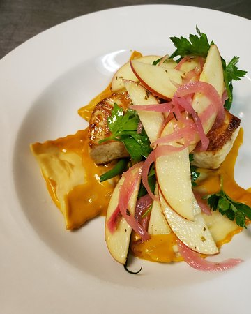 Amberjack with Stuffed Ravioli and an Apple-Herb Salad