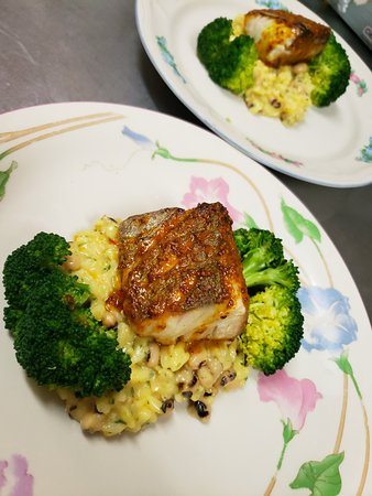 Maple-Mustard Glazed Kingfish with Black-eyed Pea Risotto and Broccoli