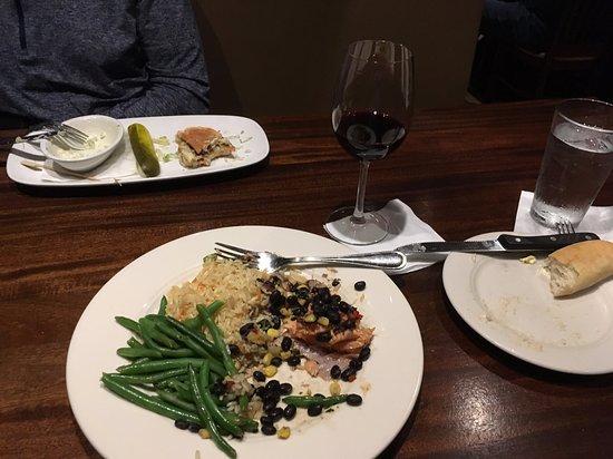 Salmon with black bean and corn salsa