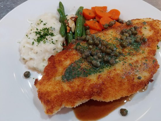 Elements Destination Restaurant: A classic and guest favorite, the German Chicken Piccata