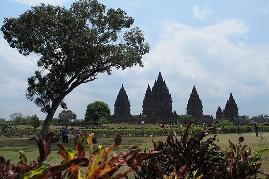 Templo Prambanan e ciclismo na área...