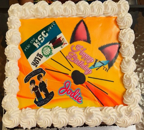 Terrific Ice Cream Cake With Our Own Image Design To Be Placed On Top Of Funny Birthday Cards Online Inifodamsfinfo