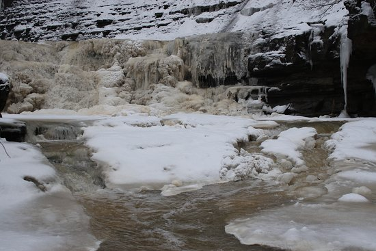 January falls. (Caution:  Hiking near the falls in summer can be dangerous for slipping hazards, doing it in the winter should only be attempted by experienced hikers)