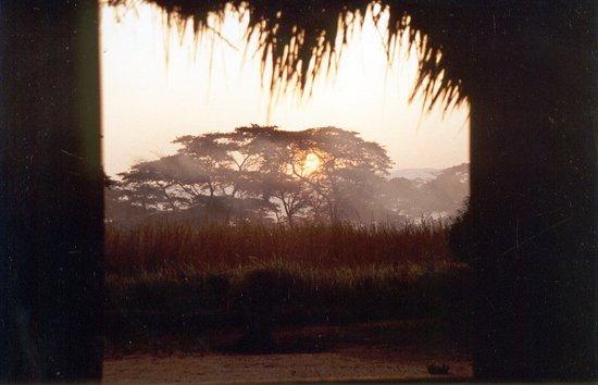South Kivu Province, Democratische Republiek Congo: Lever de soleil sur la savane, de l'entrée d'une habitation, au Sud-Kivu, zone de Fizi, 1991