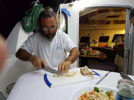 Abaco Islands: Captain Keath preparing conch ceviche