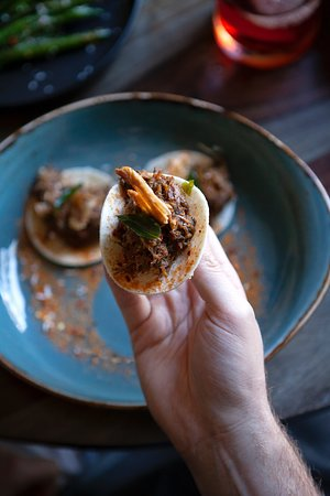 Pulled duck roti tacos