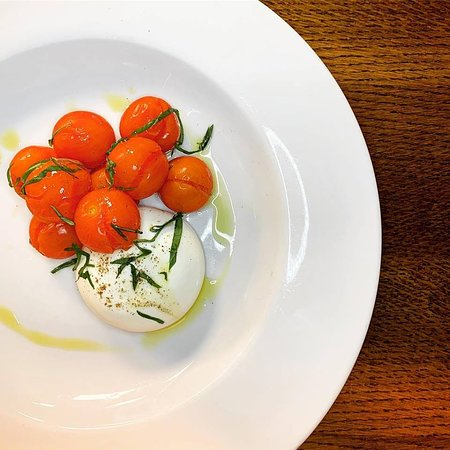Burrata with Lightly Roasted Cherry Tomatoes, Basil & EVOO