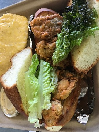 Oyster Po Boy with one side $11.75