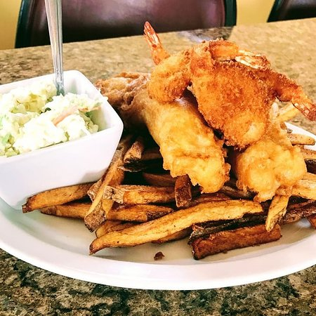 Corry, PA: Our Lenten Special, the Poseidon Platter, with Beer Battered Fish and Butterfly Shrimp, with Cole Slaw and your Choice of Fries