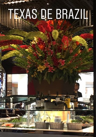 Texas de Brazil: The salad bar topped with a beautiful floral display.