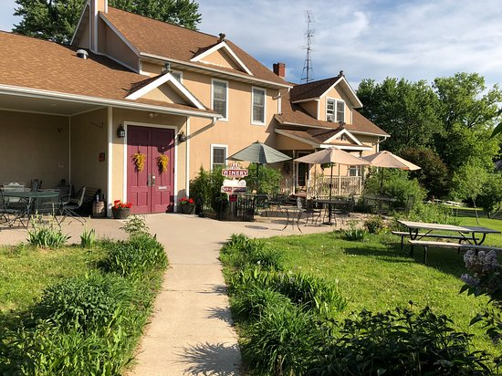 Taylor, WI: The front entrance to Brambleberry, with the winery on the left and the inn on the right.