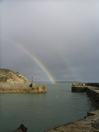 Charlestown harbour with double rainbow