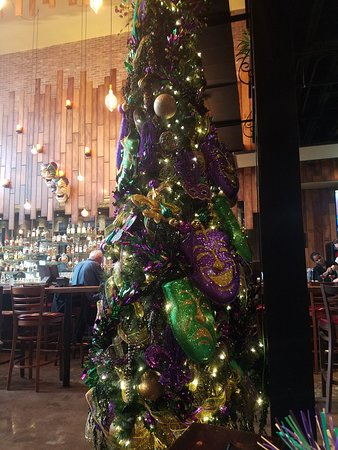Christmas tree with green and purple