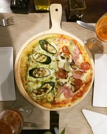 Our Half and Half Pizza, Zucchine e Scamorza and Ham and Mushroom
