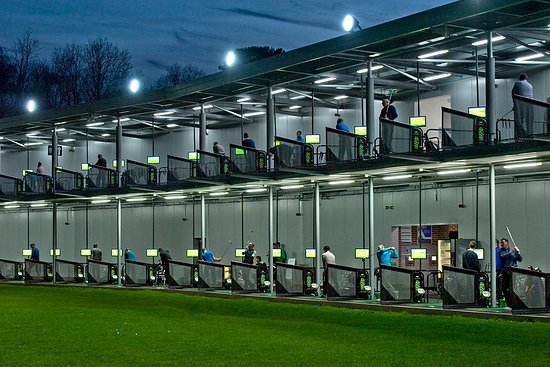 SIlvermere's fantastic 2-tier, 52 bay driving range with Toptracer Technology