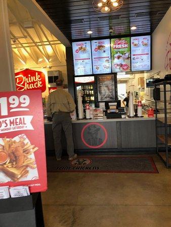 Register area of Slim Chicken Restaurant in Humble Texas
