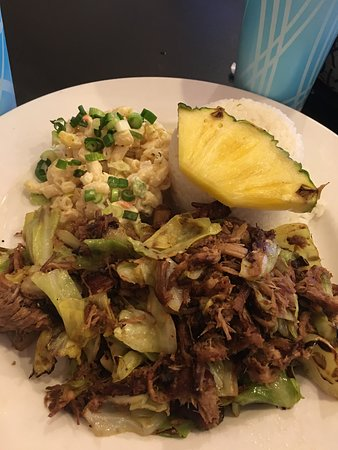 Sandy, OR: Kalua Pig - traditional style with cabbage, Mac salad, rice and pineapple.