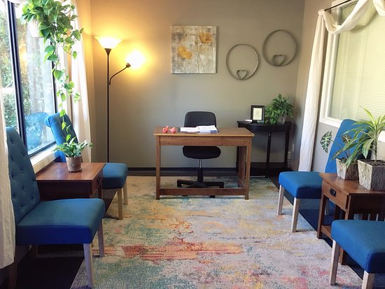 Waiting area at Chico Massage Studio.