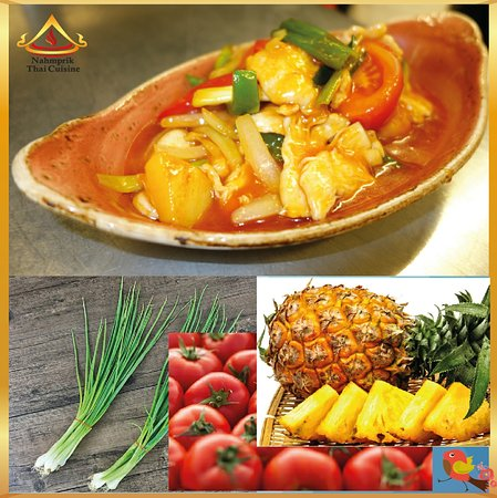 One of the classic healthy Thai sweet and sour chicken comes with tons of flavour. The tangy, sour and salty flavor balance in sweet and sour chicken makes it a popular menu along with many nutritional value cooked from freshly sourced natural ingredients such as pineapple, tomato and spring onion.