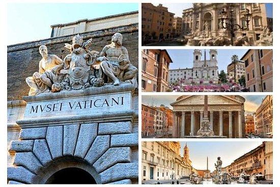 ローマ7の驚異:システィーナ礼拝堂からトレビの泉まで-高級車とランチ