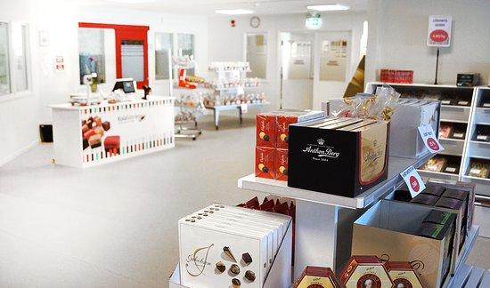 Överblick på fabriksbutiken. Öppnade i december 2017