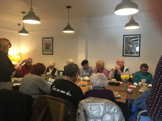This is the coffee morning held in Harpers Coffee shop on a monthly basis for Seniors from the local area. Its very well attended and enjoyed by everybody who goes. It would be great if other coffee shops did something similar in other areas.  I was there to represent Seniors Helping Seniors and to make people aware of our service and was delighted to attend such a welcoming event.
