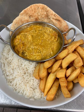 Chicken Korma with rice, chips & naan bread. Beef stew with red cabbage & crusty bread.