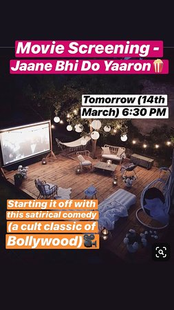 """Movie Screening TOMORROW at 6:30 PM of Jaane Bhi Do Yaaron😁🍿 . . Call us on - 9984444095 