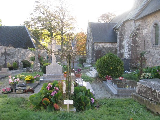 La Haye-Pesnel, France : The cemetery outside the old church of La Rochelle in Basse-Normandy