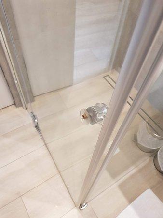 Broken shower door. Broken handle. It was very difficult to close the door at all.