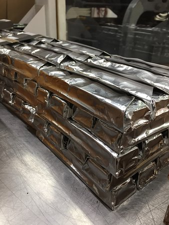 More fresh rum filled bars ready for packaging at the Agapey Chocolate Factory.