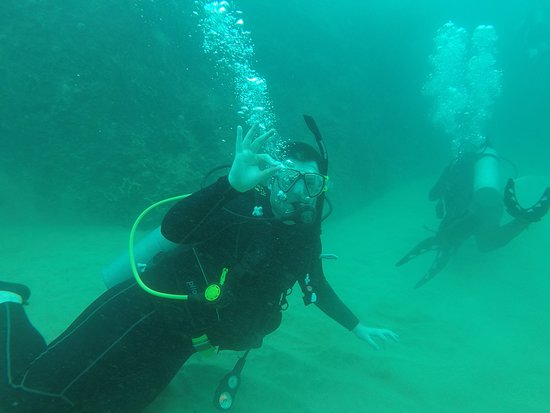 Spencer's Underwater Adventures: My husband following Spencer on a Mt. Irvine dive.