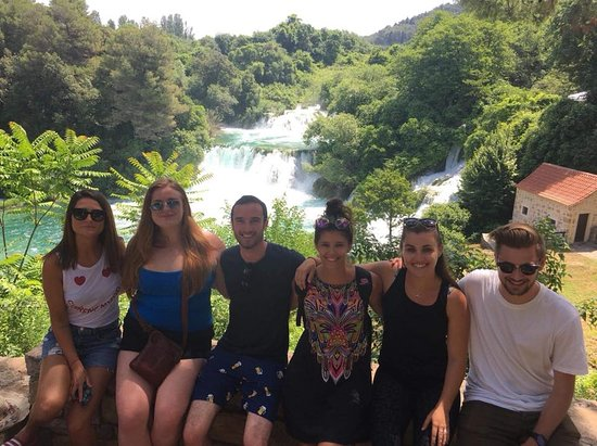 Krka National Park, Croatia: Making friends while enjoying stunning view of Krka waterfalls.