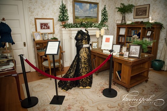 Bryn Athyn, PA: Gertrude Pitcairn's office during the Christmas season, dress c.1893-1895.