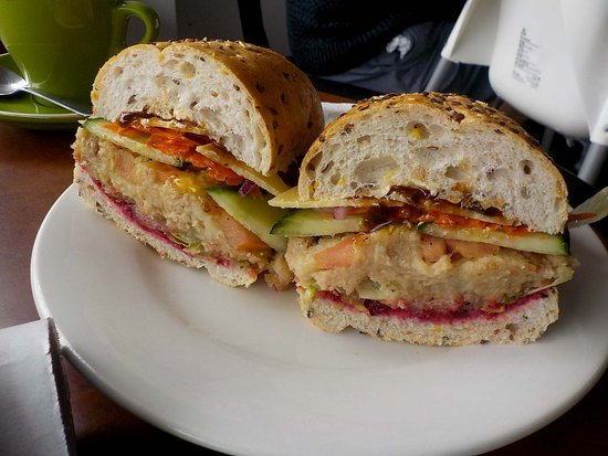 Salad roll with salmon pattie