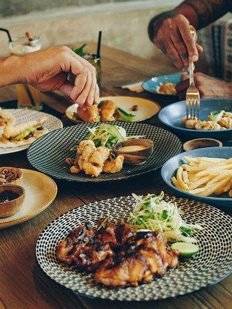 Peekaboo Canggu: From the Wood Grill, BBQ Half chicken Basted, Prawn Dumplings, Fried Calamari... Bon Apetit!