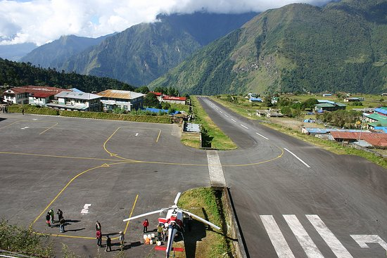 Tenzing–Hillary Airport, also known as Lukla Airport, is a small airport in the town of Lukla, in Khumbu, Solukhumbu District. It is considered one of the most dangerous airports in the world.
