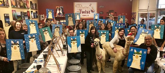Temple, TX: We painted Alpaca the Gifts with REAL ALPACAS in the studio!  It was so much fun!!