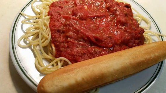 Clay City, IN: Spaghetti with meat sauce.... available everyday, or as endless plates on Saturday!