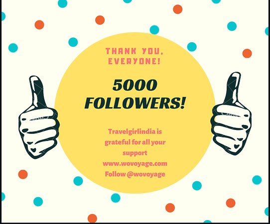 Asien: Thank you for 5000 !! I will be sharing more insider content with you guys .Travel is Life !! #indiatour #followers #celebrity #travelgram @wovoyage